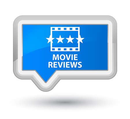 reviews: Movie reviews cyan blue banner button Stock Photo