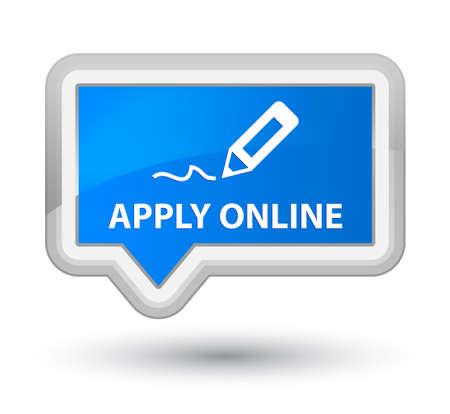 registry: Apply online (edit pen icon) cyan blue banner button Stock Photo