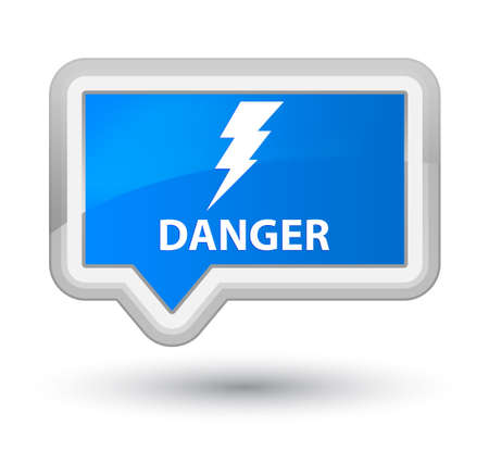 cautious: Danger (electricity icon) cyan blue banner button