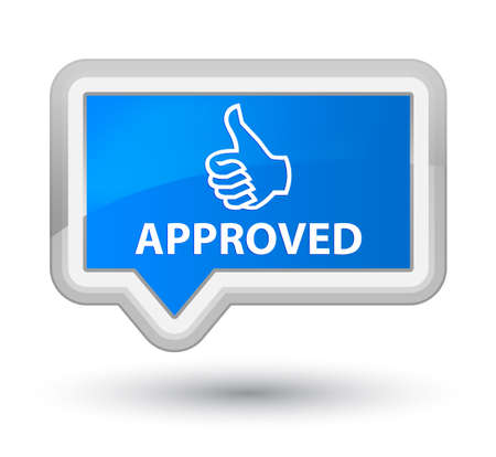 thumbs up icon: Approved (thumbs up icon) cyan blue banner button