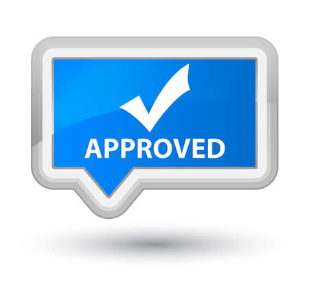 validate: Approved (validate icon) cyan blue banner button Stock Photo