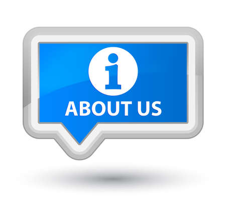 'about us': About us cyan blue banner button