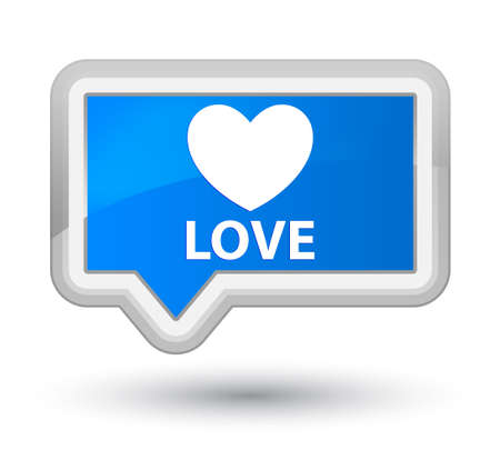 valentin's: Love cyan blue banner button Stock Photo