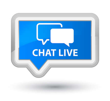 chat icons: Chat live cyan blue banner button