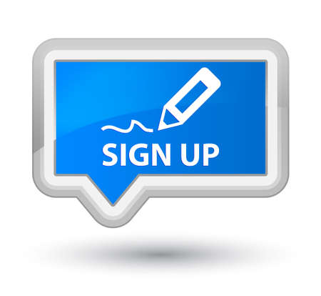 registry: Sign up cyan blue banner button Stock Photo