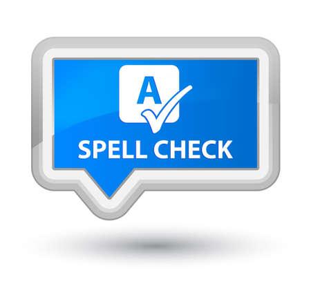 spell: Spell check cyan blue banner button