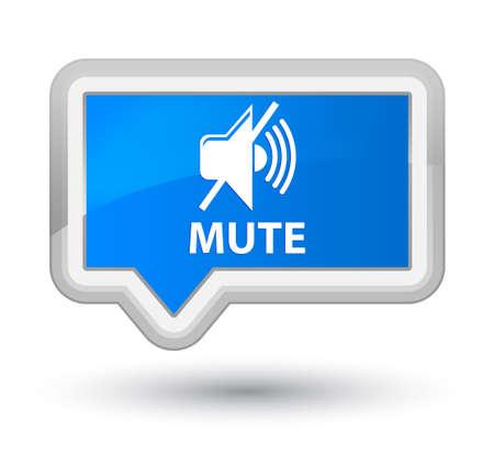 cyan: Mute cyan blue banner button Stock Photo
