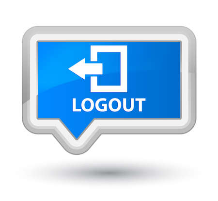log off: Logout cyan blue banner button Stock Photo
