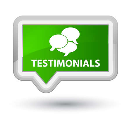 comments: Testimonials (comments icon) green banner button