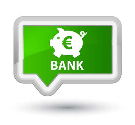 Bank (piggy box euro sign) green banner button