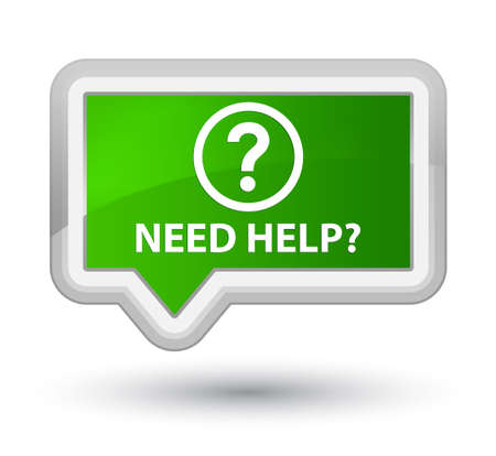 green issue: Need help (question icon) green banner button Stock Photo