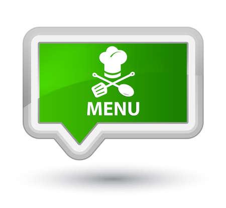 cater: Menu (restaurant icon) green banner button