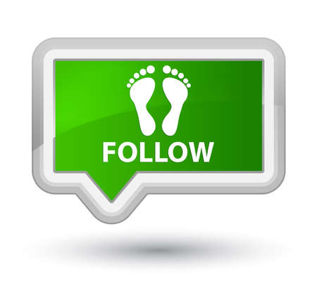 green footprint: Follow (footprint icon) green banner button