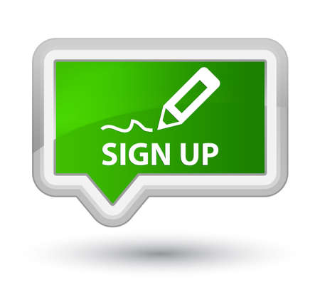 registry: Sign up green banner button Stock Photo
