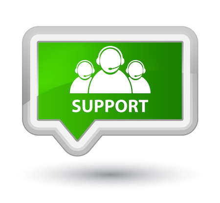 Support (customer care team icon) green banner button Stock Photo
