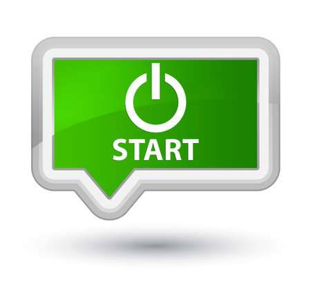 turn up: Start (power icon) green banner button Stock Photo