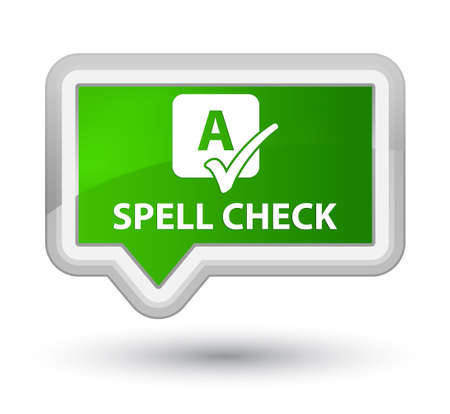 word processors: Spell check green banner button Stock Photo