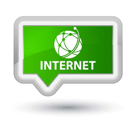 Internet (global network icon) green banner button Stock Photo