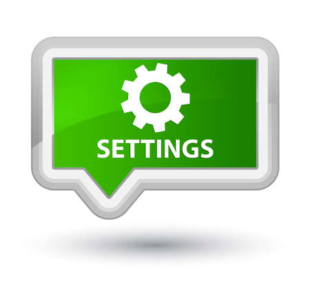 preference: Settings green banner button Stock Photo
