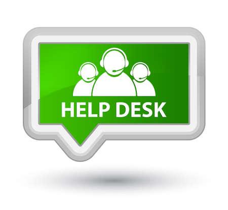 help desk: Help desk (customer care team icon) green banner button