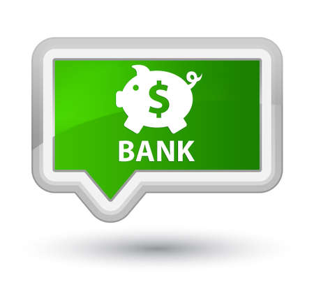 economical: Bank (piggy box dollar sign) green banner button Stock Photo
