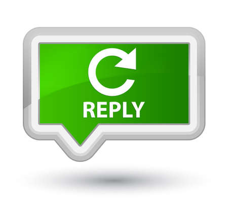 rotate: Reply (rotate arrow icon) green banner button Stock Photo
