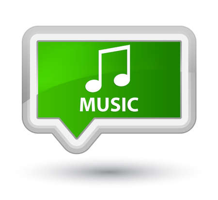tune: Music (tune icon) green banner button Stock Photo