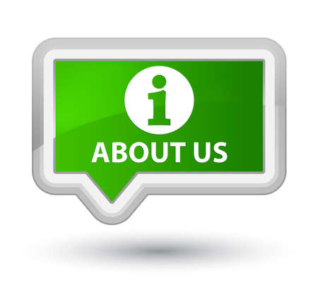 about us: About us green banner button Stock Photo