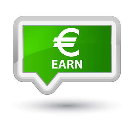 earn: Earn (euro sign) green banner button Stock Photo
