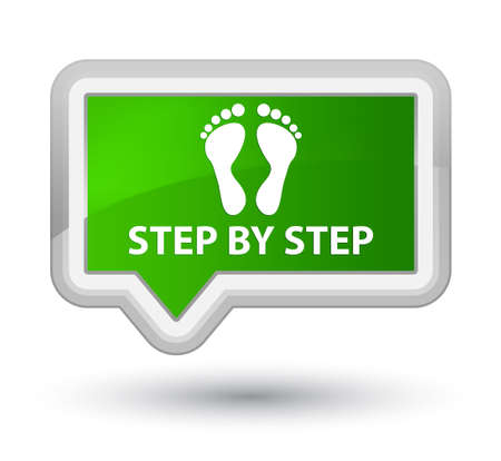finger bones: Step by step (footprint icon) green banner button