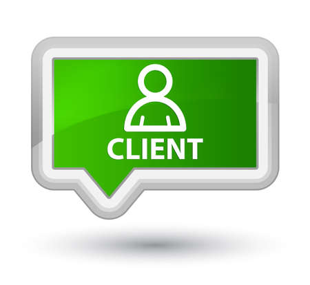 Client (member icon) green banner button Stock Photo
