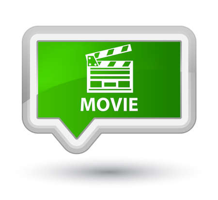 Movie (cinema clip icon) green banner button Banco de Imagens