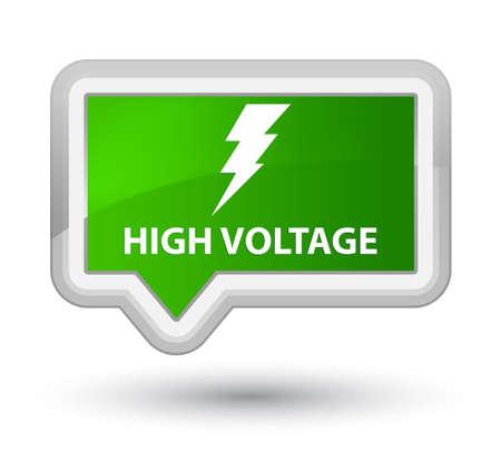 high voltage: High voltage (electricity icon) green banner button