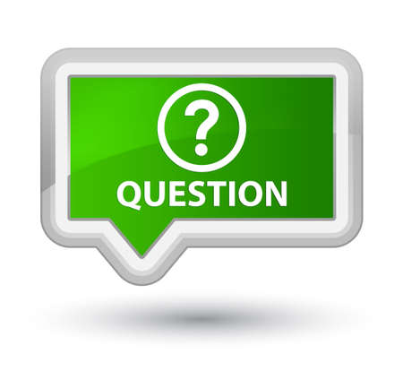 asking: Question green banner button Stock Photo