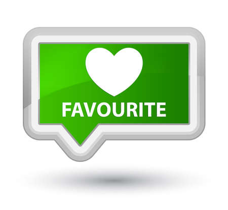 favourite: Favourite (heart icon) green banner button Stock Photo