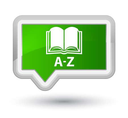 az: A-Z (book icon) green banner button Stock Photo