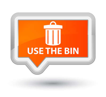 waste 3d: Use the bin (trash icon) orange banner button Stock Photo