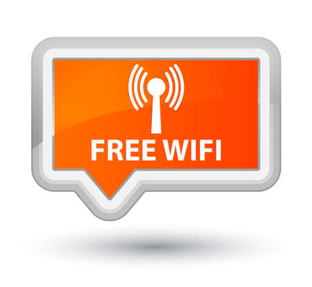 wlan: Free wifi (wlan network) orange banner button Stock Photo