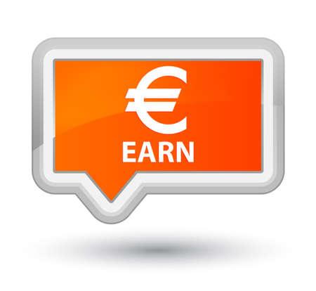 earn: Earn (euro sign) orange banner button Stock Photo