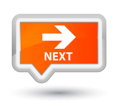 move ahead: Next orange banner button Stock Photo