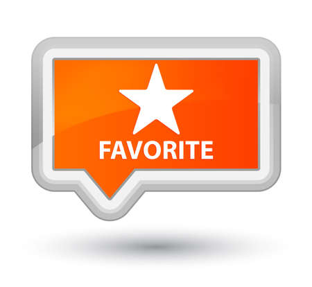 Favorite (star icon) orange banner button Stock Photo