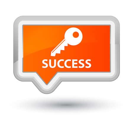 Success (key icon) orange banner button Stock Photo