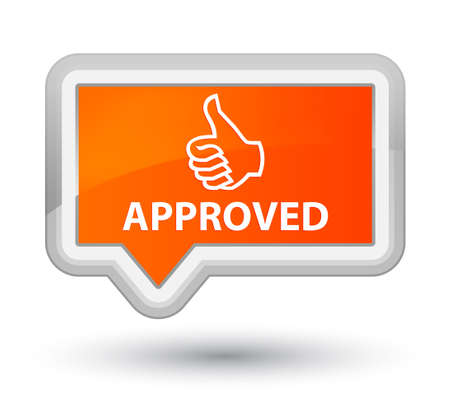 approved: Approved (thumbs up icon) orange banner button Stock Photo