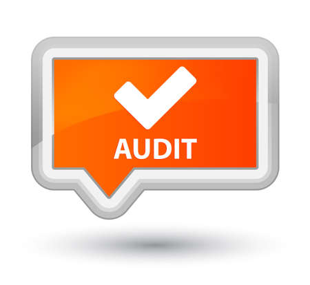 validate: Audit (validate icon) orange banner button Stock Photo