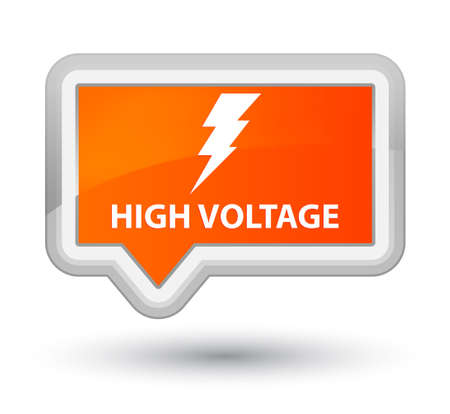high voltage: High voltage (electricity icon) orange banner button Stock Photo