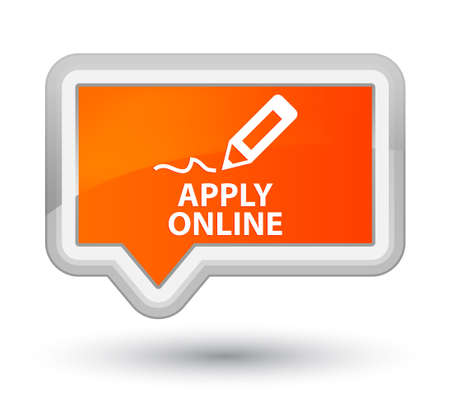 apply: Apply online (edit pen icon) orange banner button Stock Photo