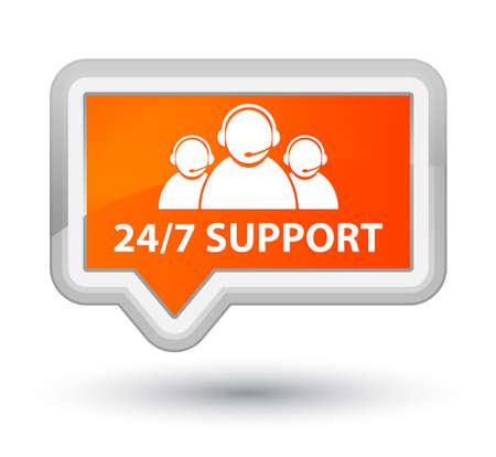 247 Support (customer care team icon) orange banner button