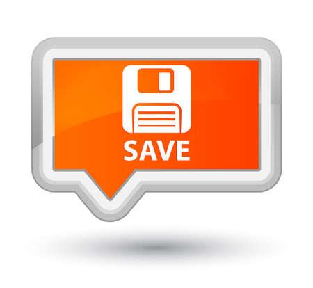 floppy disk: Save (floppy disk icon) orange banner button Stock Photo