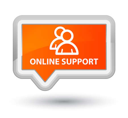 support group: Online support (group icon) orange banner button Stock Photo