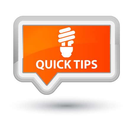 hints: Quick tips (bulb icon) orange banner button